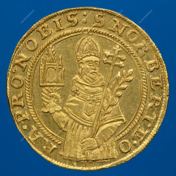 Pamětní medaile na přenesení ostatků sv. Norberta z Magdeburku do Strahovského kláštera v Praze, Praha, Donat Starckh, stříbro, 1627, MMP H 17.275