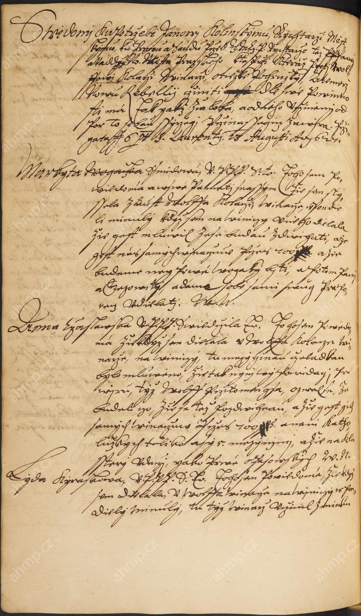Několik svědeckých výpovědí o vinaři Volfovi Kolářovi z Nového Města pražského, který připravoval s dalšími vinaři vzpouru, 23. 8. 1627, AMP, Sbírka rukopisů, rkp. 1123, kniha svědomí Nového Města pražského, 1624–1634, f. 144v–145r