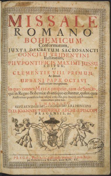 Missale Romano-Bohemicum Conformatum, juxta Decretum Sacrosancti Consilii Tridentini, Praha: Arcibiskupská tiskárna, 1690, AMP, Sbírka starých tisků, 2 F 136