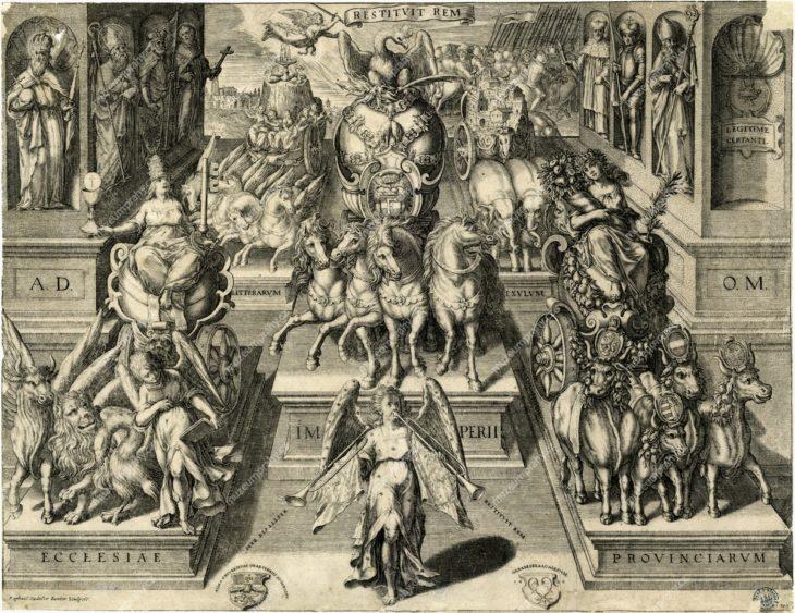 Oslava obnovy císařské moci Ferdinanda II., Nürnberg, po 1620?, rytec: Aegidius Sadeler, MMP H 898