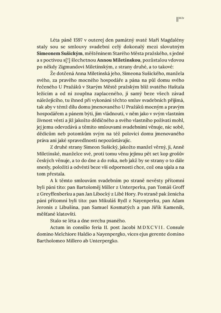 Svatební smlouva Šimona Sušického s Annou, vdovou po Zikmundovi Miletínském, 22. 7. 1597 - přepis
