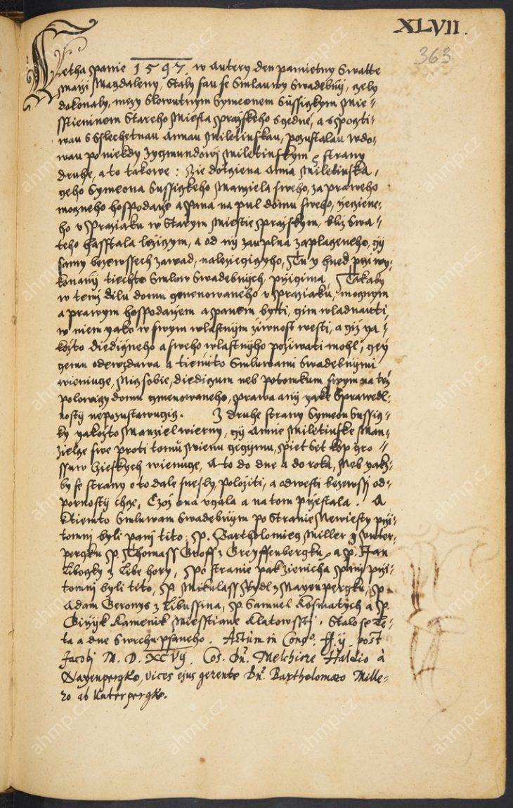 Svatební smlouva Šimona Sušického s Annou, vdovou po Zikmundovi Miletínském, 22. 7. 1597