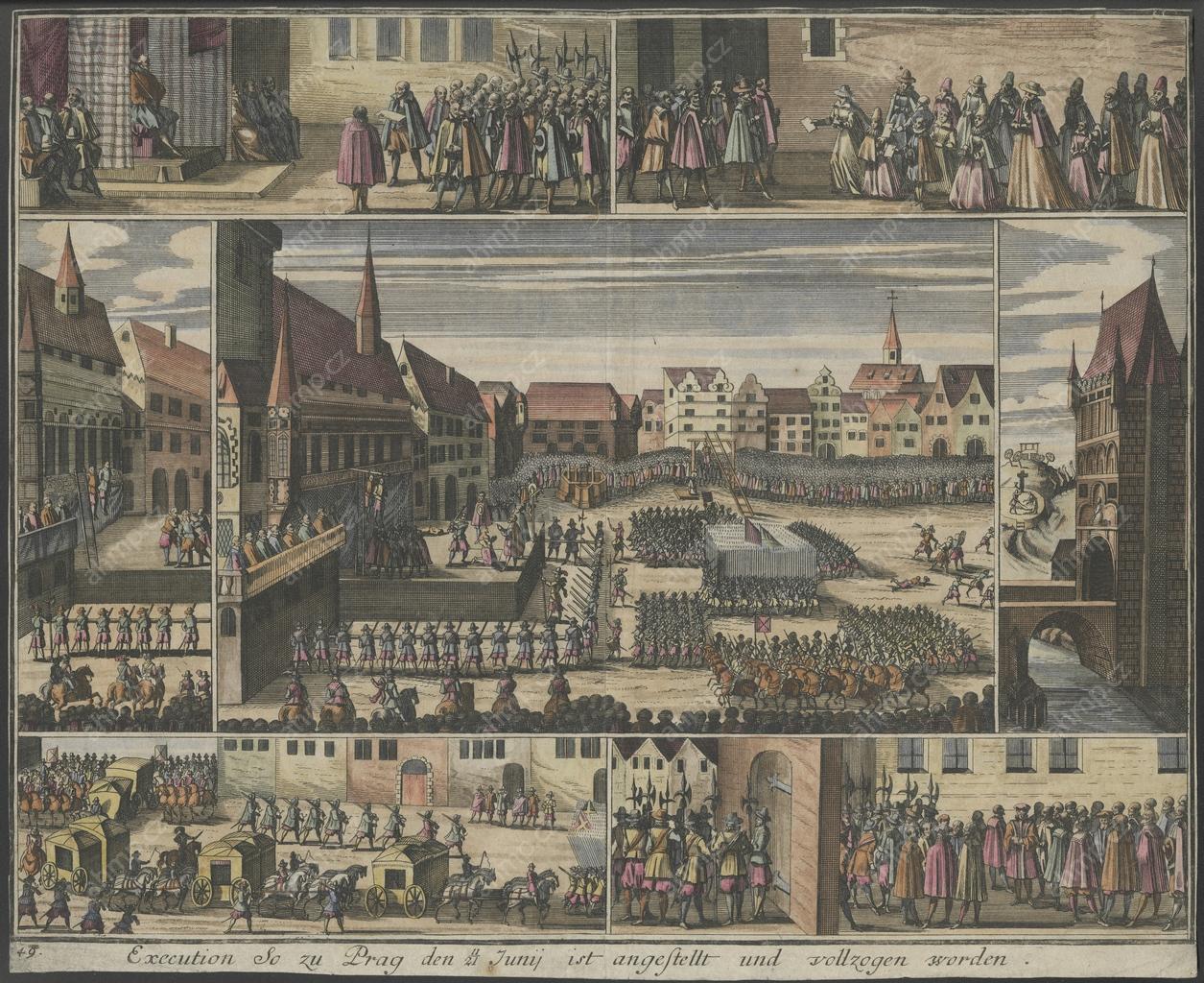 Detail grafiky staroměstské exekuce s břevnem, na kterém byli oběšeni Jan Kutnaur a Šimon Sušický (AMP, Sbírka grafiky, Staroměstská exekuce, mědiryt 1646 [Leipzig 1724], G 1619, výřez centrální části)
