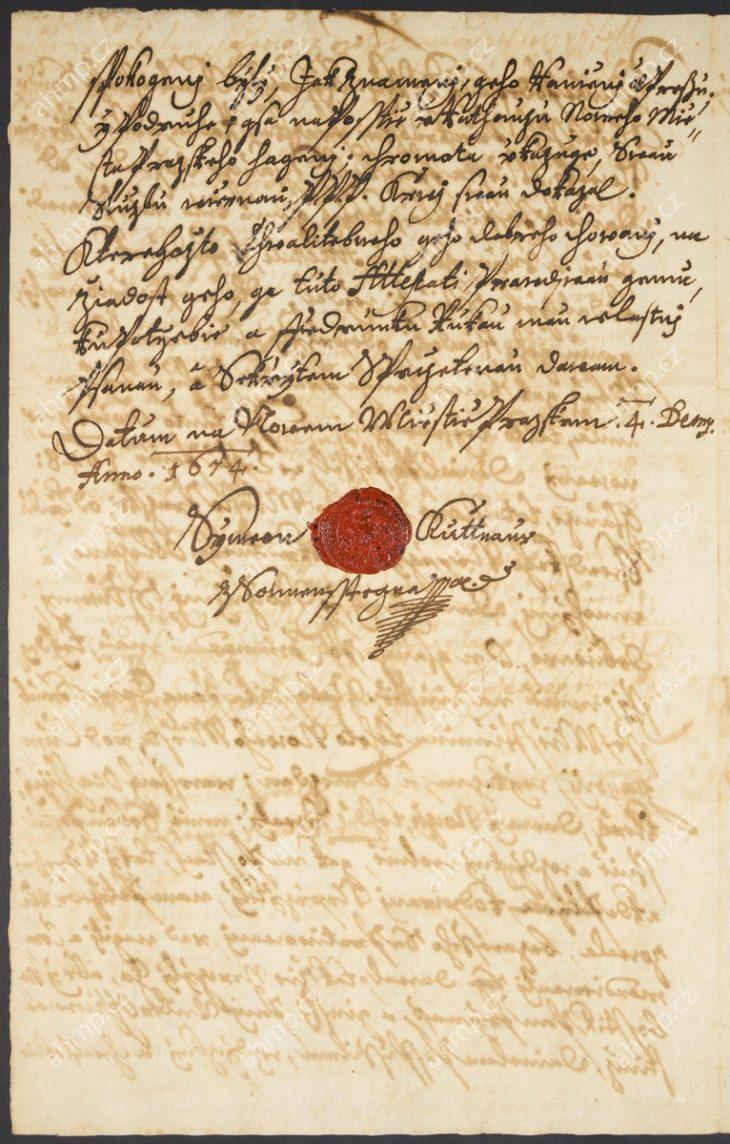 Šimon Kutnaur potvrzuje statečné chování Daniela Pospíšila během švédského obléhání pražských měst v roce 1648, 4. 12. 1674 (AMP, Sbírka listin, PPL IV – 18064). Na dokument je přitištěna pečeť Šimona Kutnaura ze Sonnenštejna.