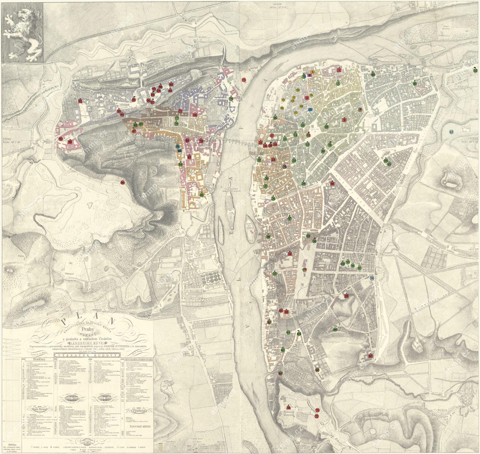 Církevní topografie Prahy v době předbělohorské, před rokem 1620, zachyceno na Plánu královského hlavního města Prahy Josefa Jüttnera z let 1811–1815, AMP, Sbírka map a plánů, MAP P1 B/28
