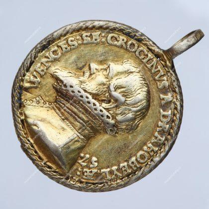 Medaile na počest pražského měšťana Václava Krocína z Drahobejle, medailér: Jiřík Starší z Řásné, zlacené stříbro, asi 1587, MMP H 16.711
