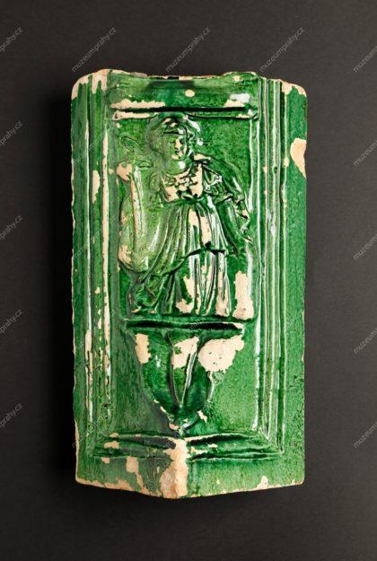 Kachel rohový s personifikací Víry, Praha, pálená hlína, glazura, první polovina 17.století, MMP H 9.849